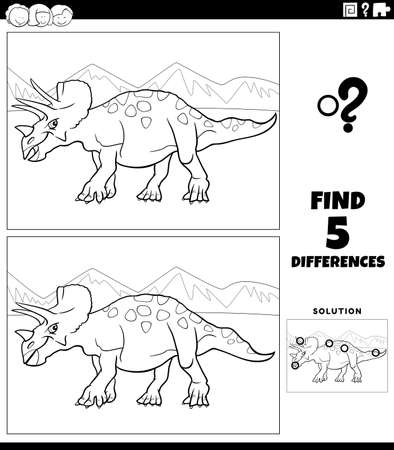 Black and white cartoon illustration of finding the differences between pictures educational game for children with triceratops dinosaur prehistoric animal character coloring book page