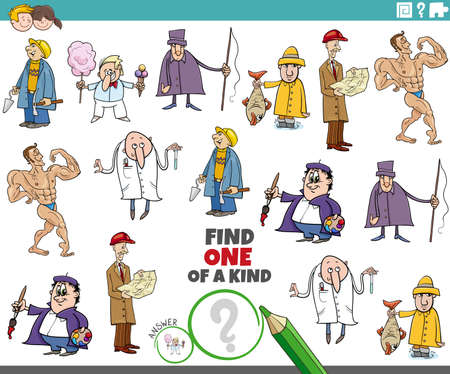 Cartoon illustration of find one of a kind picture educational task for children with comic people characters Illustration