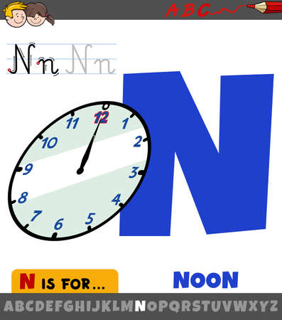 Educational cartoon illustration of letter N from alphabet with noon on the clock