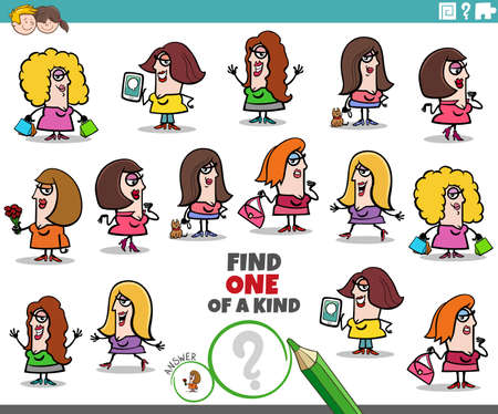 Cartoon illustration of find one of a kind picture educational task for children with funny women characters