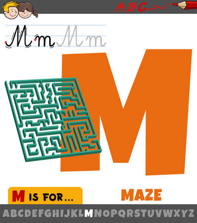 Educational cartoon illustration of letter M from alphabet with maze