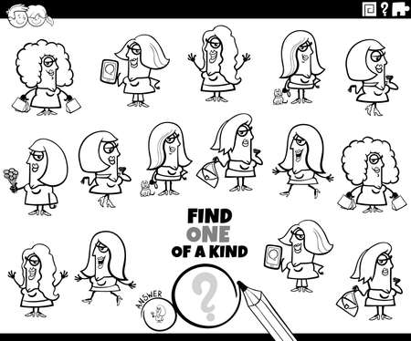 Black and white cartoon illustration of find one of a kind picture educational task for children with funny women characters coloring book page