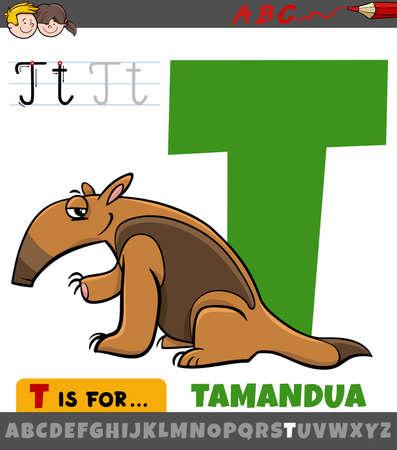 Educational cartoon illustration of letter T from alphabet with tamandua animal character for children Illustration