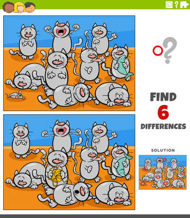 Cartoon illustration of finding the differences between pictures educational game for children with cats animal characters group