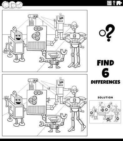 Black and white cartoon illustration of finding the differences between pictures educational game for children with funny robots fantasy characters coloring book page