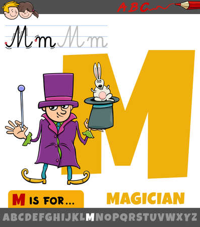 Educational cartoon illustration of letter M from alphabet with magician character