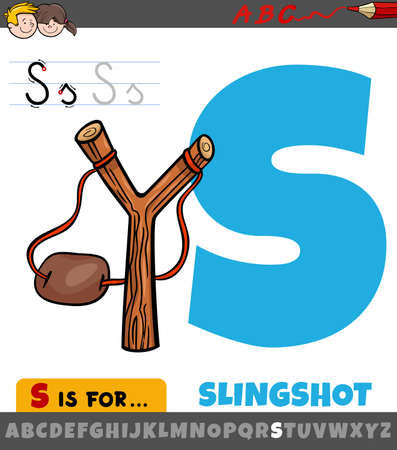 Educational cartoon illustration of letter S from alphabet with slingshot object