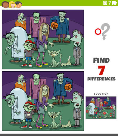 Cartoon illustration of finding the differences between pictures educational game for children with comic zombie characters