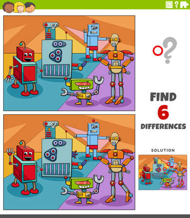 Cartoon illustration of finding the differences between pictures educational game for children with funny robots fantasy characters