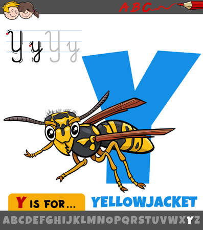 Educational cartoon illustration of letter Y from alphabet with yellowjacket insect animal character