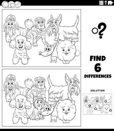 Black and white cartoon illustration of finding the differences between pictures educational game for children with funny purebred dogs animal characters group coloring book page Illustration