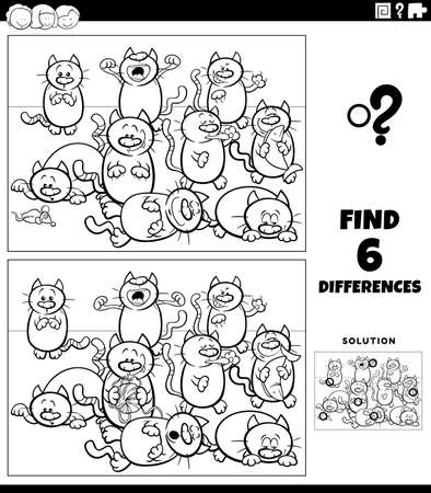 Black and white cartoon illustration of finding the differences between pictures educational game for children with cats animal characters group coloring book page