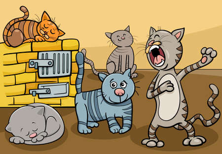 Cartoon illustration of funny cats comic animal characters group