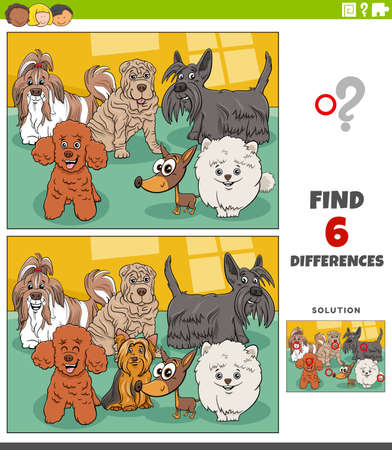 Cartoon illustration of finding the differences between pictures educational game for children with funny purebred dogs animal characters group Illustration