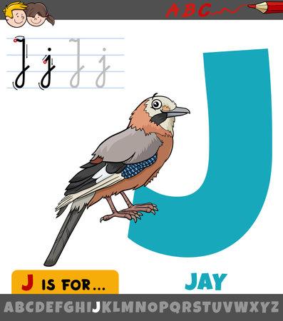Educational cartoon illustration of letter J from alphabet with jay bird animal character Illustration