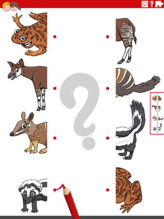 Cartoon illustration of educational game of matching halves of pictures with funny wild animals characters Illustration
