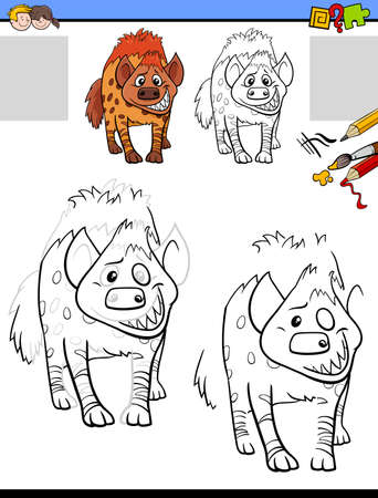 Cartoon illustration of drawing and coloring educational activity for children with hyena animal character
