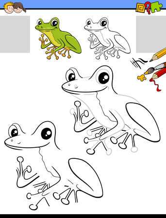 Cartoon illustration of drawing and coloring educational activity for children with tree frog character