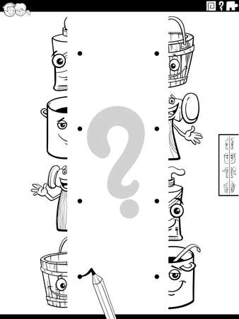 Black and white cartoon illustration of educational game of matching halves of pictures with funny objects characters coloring book page