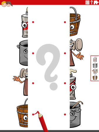 Cartoon illustration of educational game of matching halves of pictures with funny objects characters Illustration