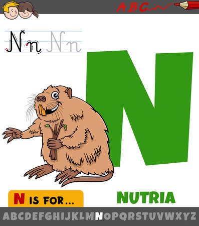 Educational cartoon illustration of letter N from alphabet with nutria animal character