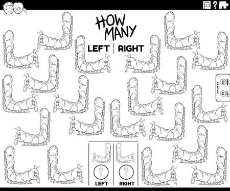 Black and white cartoon illustration of educational task of counting left and right oriented pictures of caterpillar insect animal character coloring book page