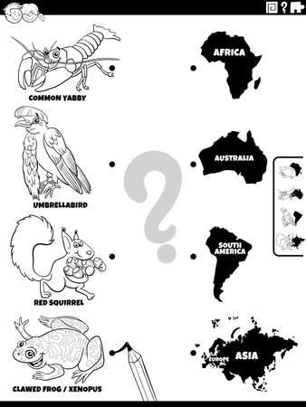 Black and white cartoon illustration of educational matching game for children with animal species characters and continents coloring book page