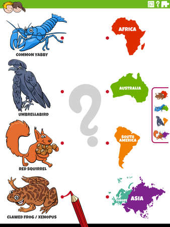 Cartoon illustration of educational matching game for children with animal species characters and continents Illustration