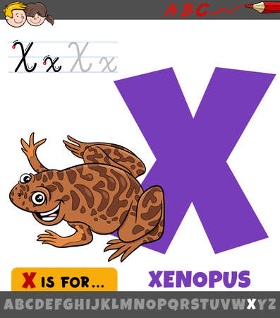 Educational cartoon illustration of letter X from alphabet with xenopus animal character Illustration