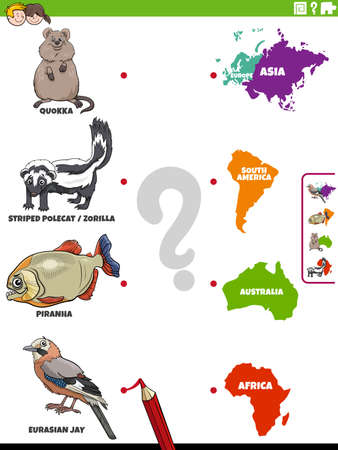 Cartoon illustration of educational matching activity for children with animal species characters and continents Illustration