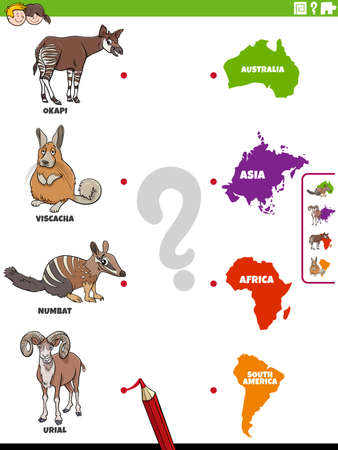 Cartoon illustration of educational matching task for children with animal species characters and continents