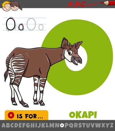 Educational cartoon illustration of letter O from alphabet with okapi animal character Illustration