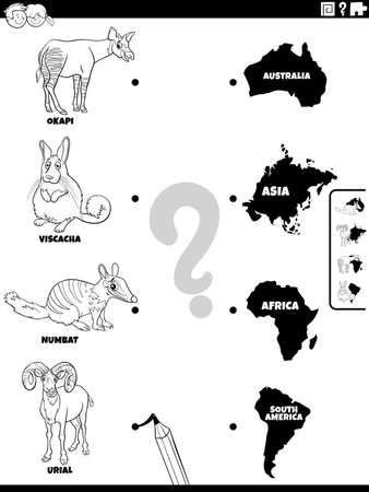 Black and white cartoon illustration of educational matching task for children with animal species characters and continents coloring book page