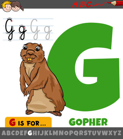 Educational cartoon illustration of letter G from alphabet with gopher animal character