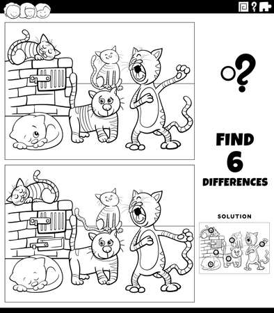 Black and white cartoon illustration of finding the differences between pictures educational game for children with funny cats animal characters group coloring book page Illustration