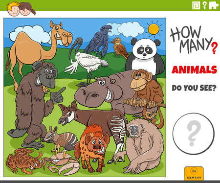 Illustration of educational counting task for children with cartoon animals characters group Illustration