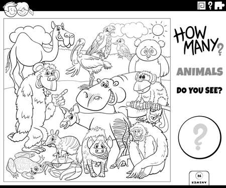 Black and white illustration of educational counting task for children with cartoon animals characters group coloring book page