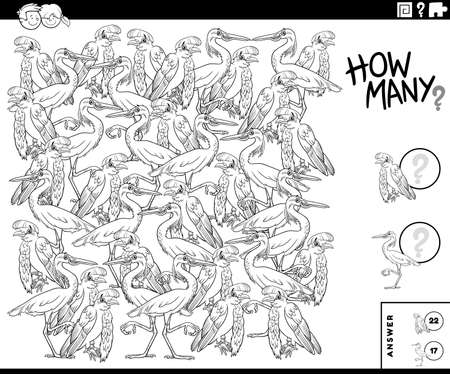 Black and white illustration of educational counting game for children with birds animal characters coloring book page