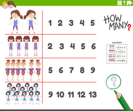 Cartoon illustration of educational counting activity for children with girls characters Illustration