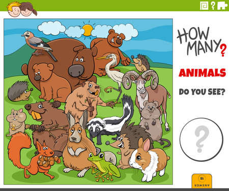 Illustration of educational counting game for children with cartoon animals characters group Illustration
