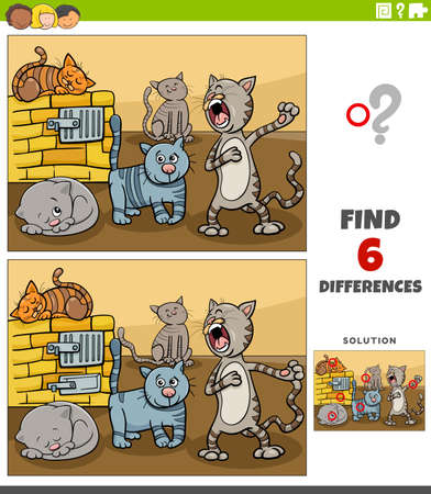Cartoon illustration of finding the differences between pictures educational game for children with funny cats animal characters group