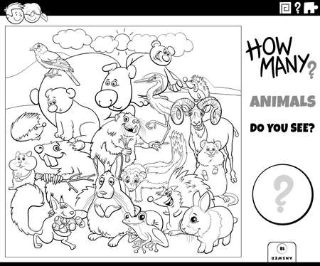 Black and white illustration of educational counting game for children with cartoon animals characters group coloring book page
