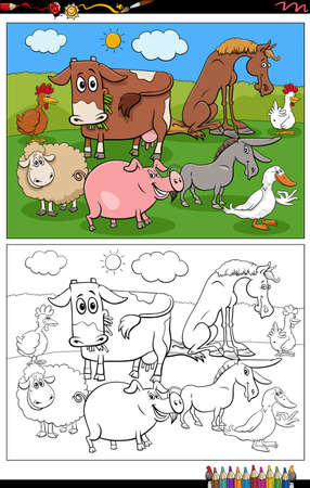 Cartoon illustration of funny farm animals characters group on the pasture coloring book page