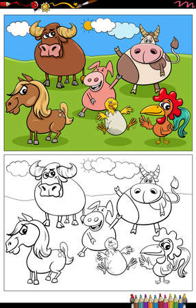 Cartoon illustration of funny comic animals characters group on the pasture coloring book page