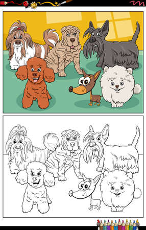 Cartoon illustration of funny purebred dogs animal characters group coloring book page