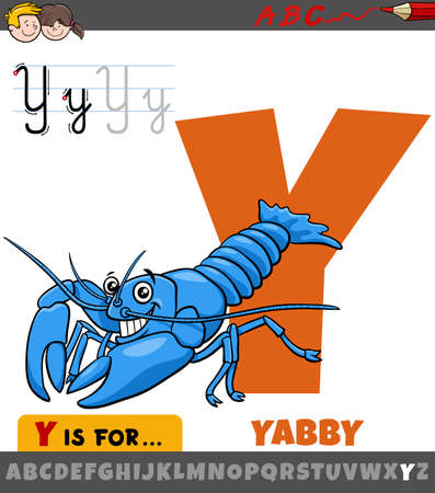 Educational cartoon illustration of letter Y from alphabet with yabby animal character