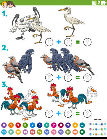 Cartoon illustration of educational mathematical addition puzzle task with birds animal characters Illustration