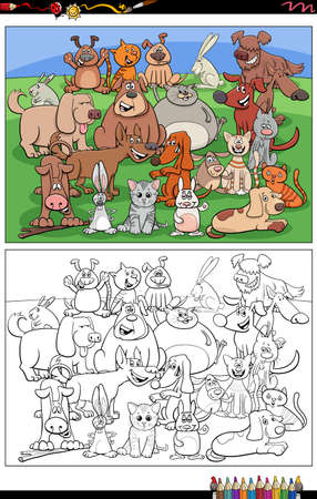Cartoon illustration of funny dogs and cats and rabbits animal characters group coloring book page Illustration