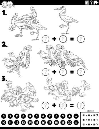 Black and White cartoon illustration of educational mathematical addition puzzle task with comic birds animal characters coloring book page
