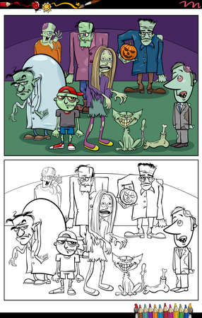 Cartoon illustration of scary zombie characters group coloring book page